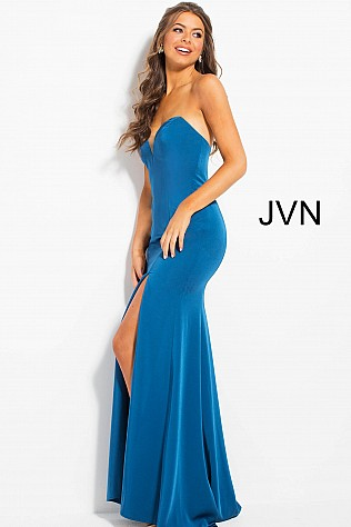 Teal Fitted High Slit Strapless Sweetheart Neck Dress JVN51327