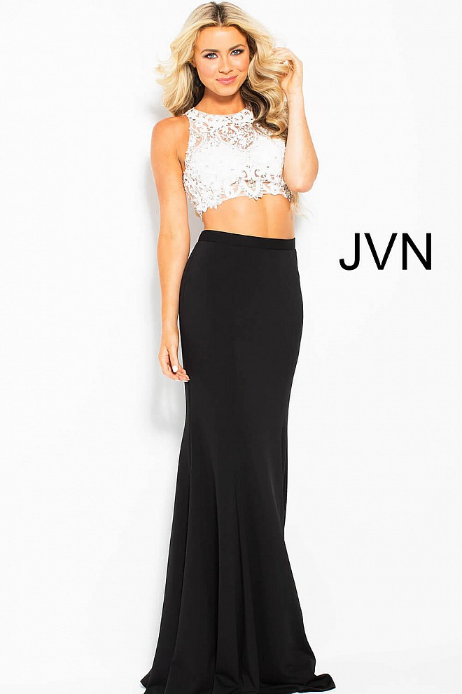 Black and Ivory Two Piece Lace Prom Dress JVN48701