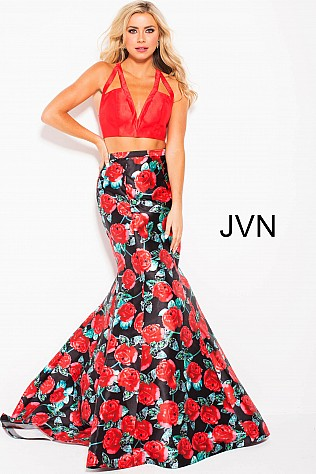 Red Floral Print Two Piece V Neck Mermaid Prom Dress JVN59990