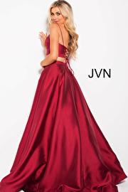 Burgundy Two Piece Spaghetti Straps Prom Ballgown JVN59636
