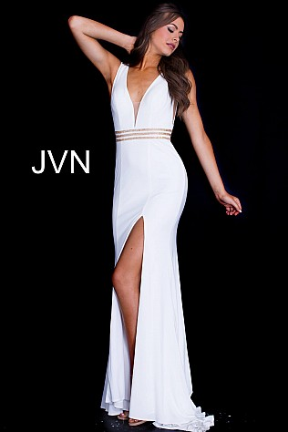 Ivory Embellished Belt Fitted High Slit Prom Dress JVN59890