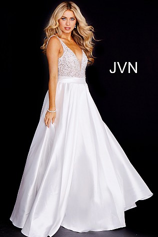 Off White Embellished Bodice A line Prom Gown JVN55754