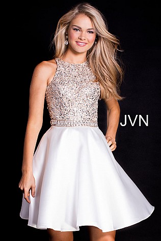 Ivory Embellished Bodice Sleeveless Short Dress JVN57782