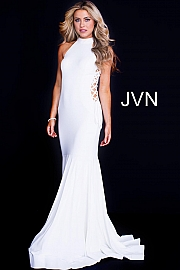 White High Neck Lace Up Sides Prom Dress JVN50487
