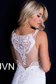 Off White Fitted Embellished V Neck Bodice Prom Dress JVN50950