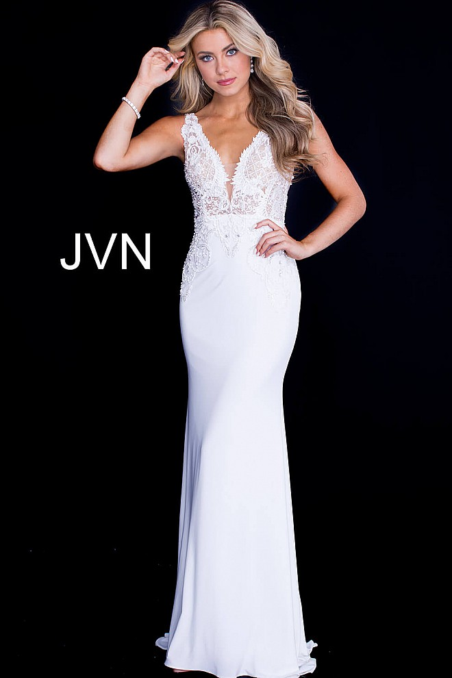 Off White Fitted Embellished V Neck Bodice Prom Dress JVN50950