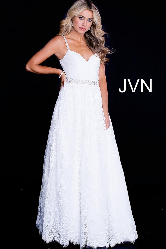 Off white long ruched sweetheart neck bodice lace ballgown.