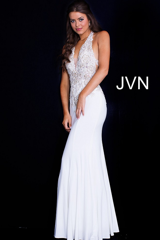 99c6de7be83 Off white long fitted low back embroidered bodice prom dress.