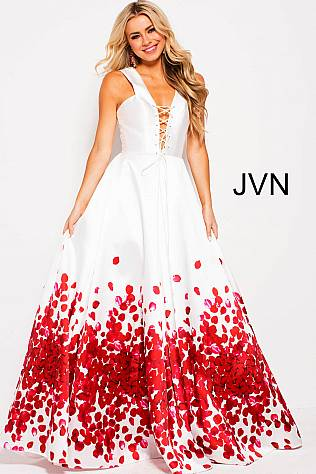Off White Red Print Sleeveless Plunging Neck Prom Ballgown JVN59187