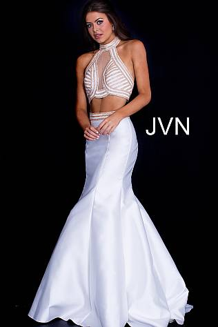 Off White Two Piece Mermaid Prom Dress JVN53385
