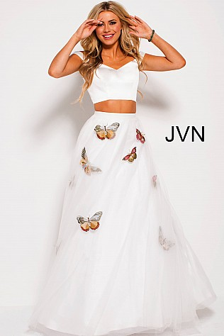 White Multi Butterfly Embroidered Two Piece Prom Gown JVN54442