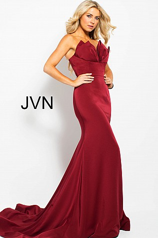Wine Strapless Pleated Neckline Fitted Prom Dress JVN53225