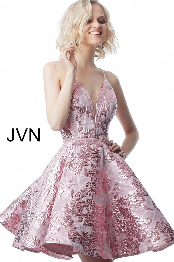 JVN00564 Rose Fit and Flare Plunging Neck Homecoming Dress