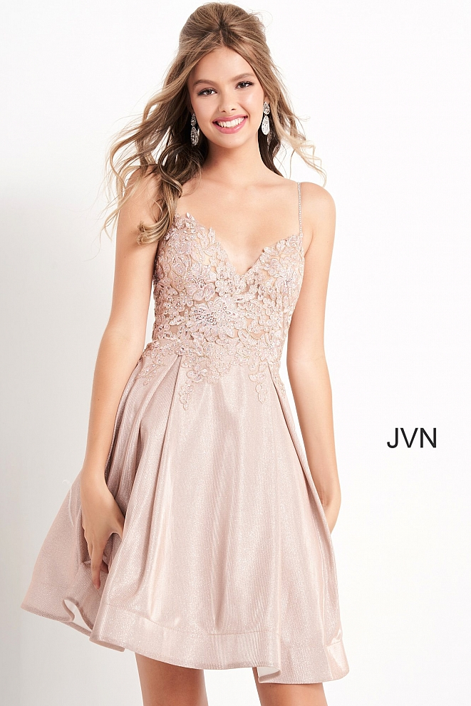 JVN04010 Nude Fit and Flare Embroidered Homecoming Dress