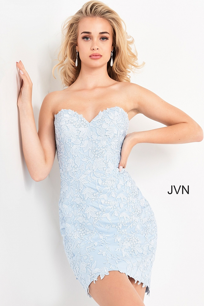 JVN04034 Light Blue Strapless Sweetheart Neck Cocktail Dress