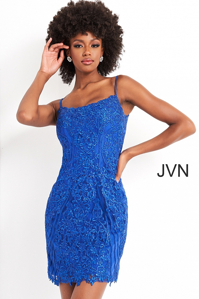 JVN04521 Royal Spaghetti Strap Short Dress