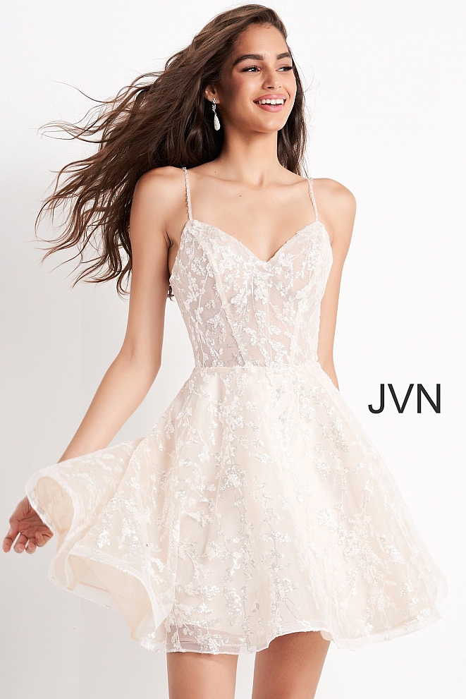 JVN04574 Ivory Fit and Flare Spaghetti Strap Cocktail Dress