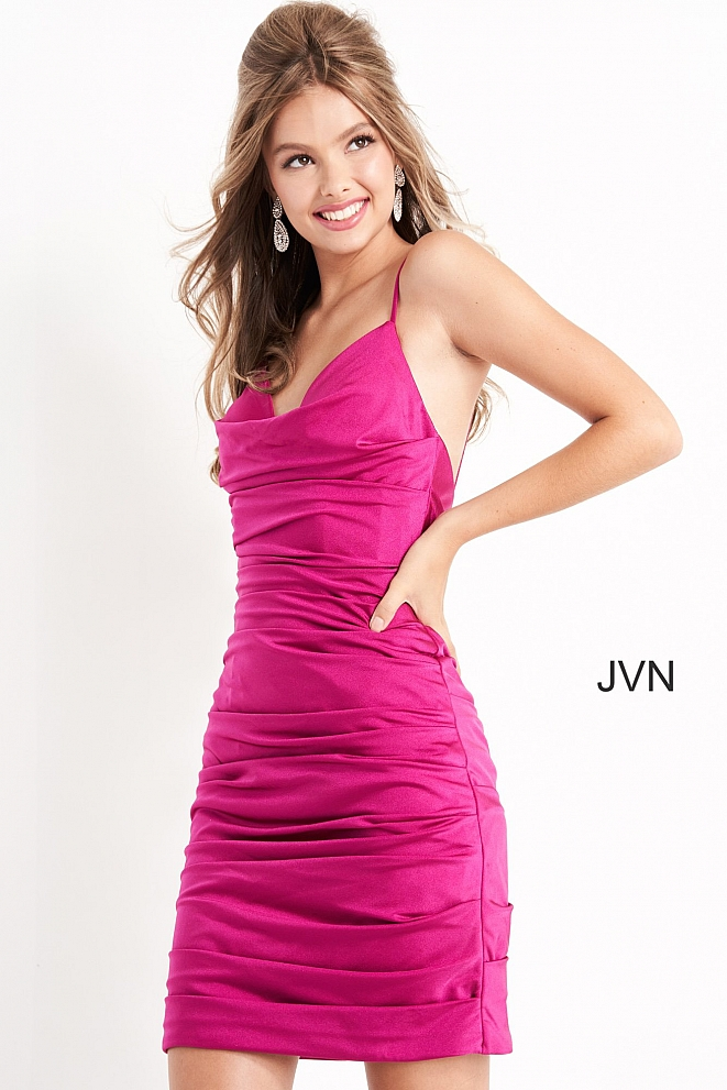 JVN04689 Magenta Fitted Cowl Neck Short Dress
