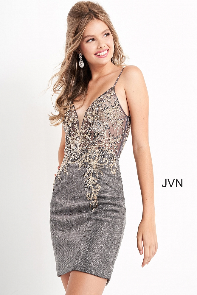 JVN05412 Charcoal Spaghetti Strap Fitted Short Dress
