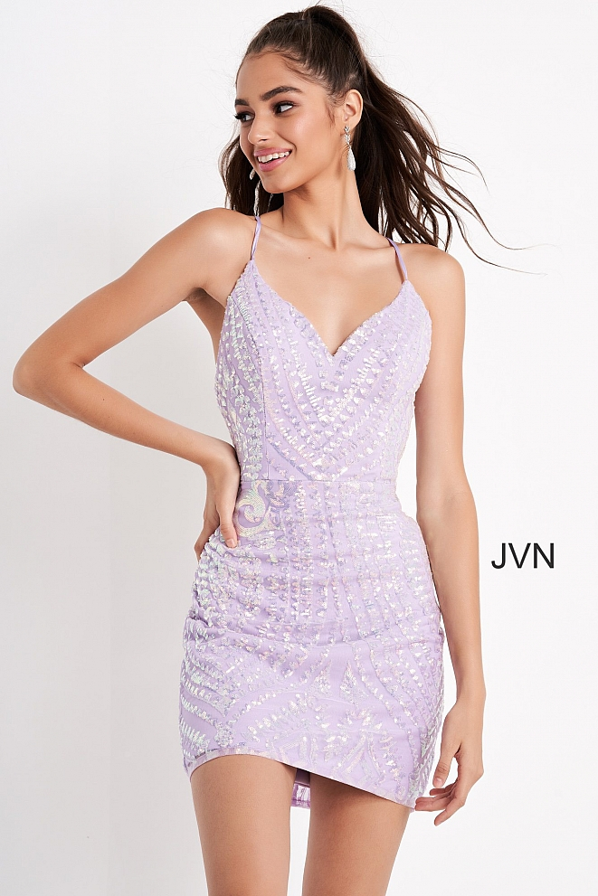 JVN05759 Lilac Fitted Embellished Short Dress