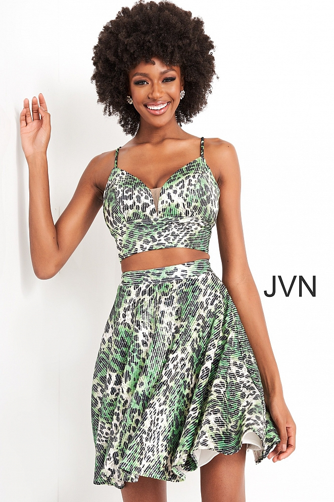 JVN05817 Green Animal Print Two Piece Short Dress