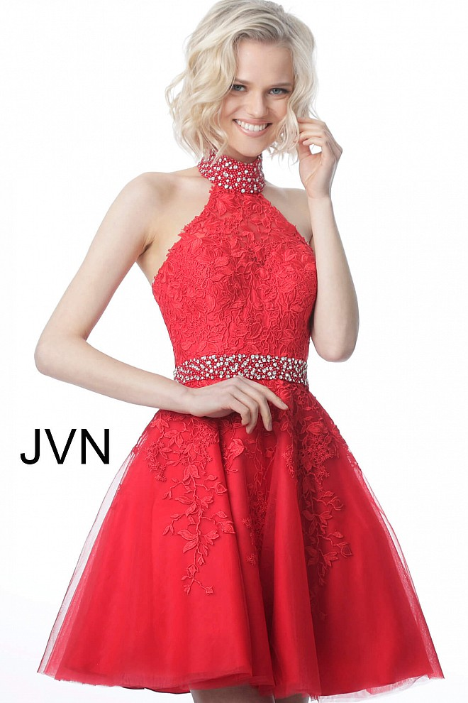Red High Halter Neck Lace Sleeveless Homecoming Dress JVN1099