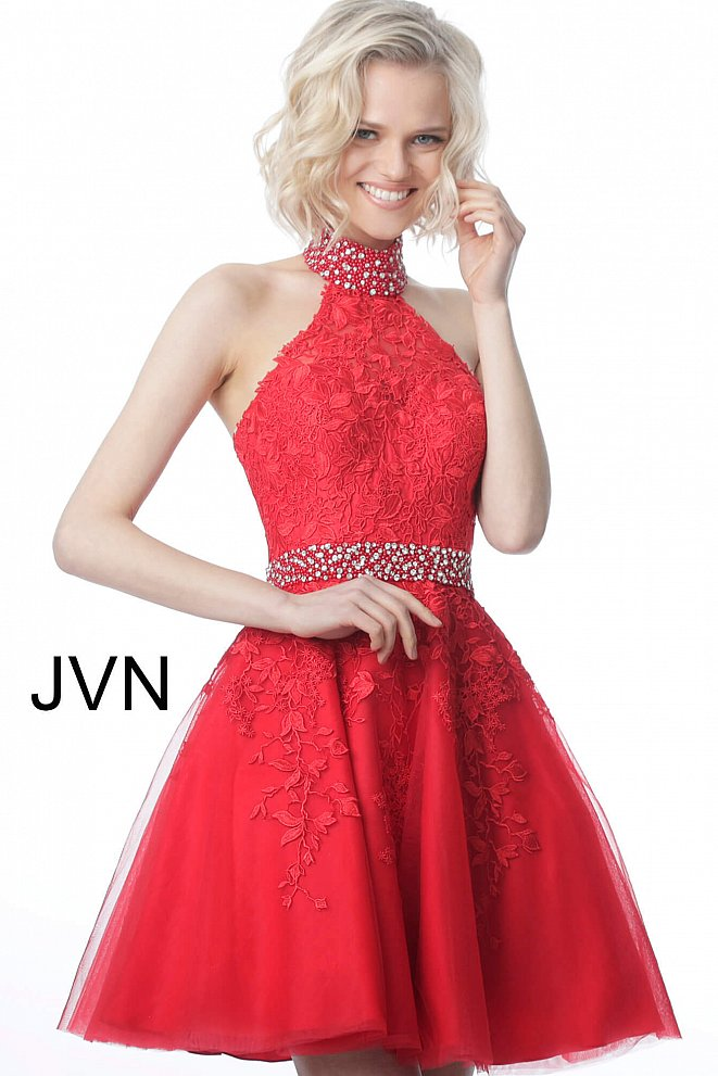 JVN1099 Red High Halter Neck Lace Sleeveless Homecoming Dress