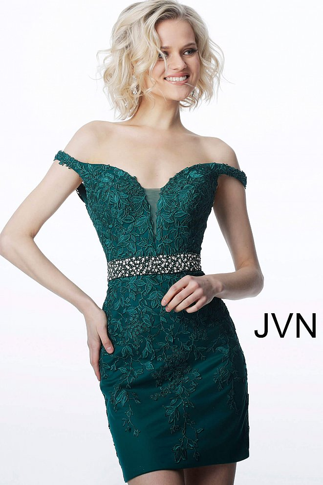 JVN1102 Emerald Off the Shoulder Sweetheart Neckline Short Dress