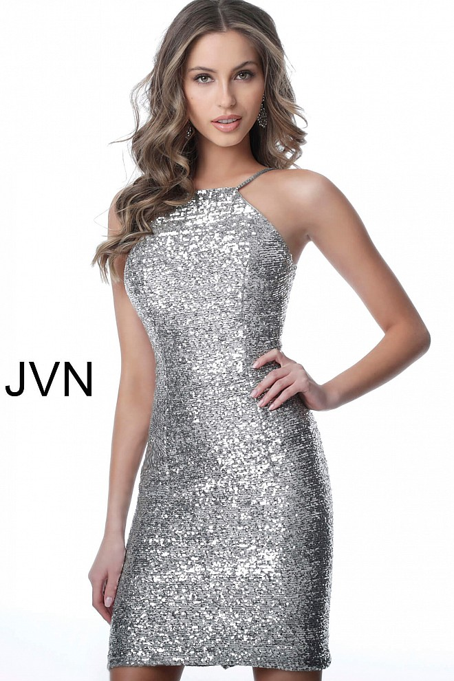 Silver Backless Form Fitting Sequin Homecoming Dress JVN1112