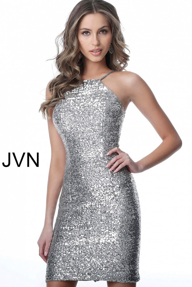 JVN1112 Silver Backless Form Fitting Sequin Homecoming Dress