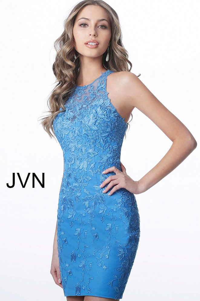 JVN1290 Blue Sheer Crew Neck Fitted Lace Short Dress