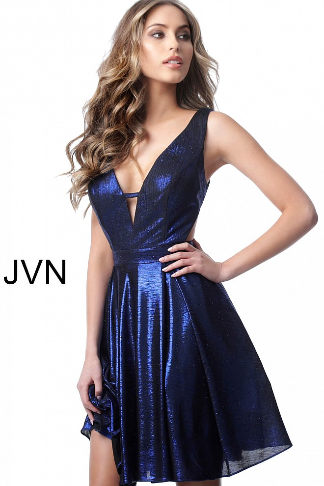 Royal Fit and Flare V Back Metallic Cocktail Dress JVN1499