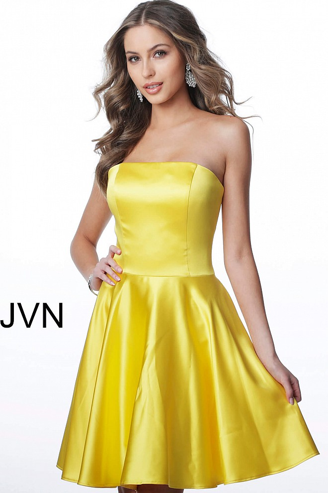 JVN1717 Yellow Strapless Fit and Flare Satin