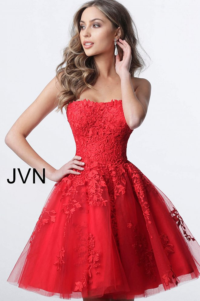 JVN1830 Red Fit and Flare Strapless Lace Homecoming Dress