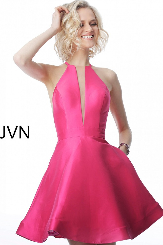 2eb13c7a488800 Fuchsia short fit and flare high neck homecoming dress jvn1841.