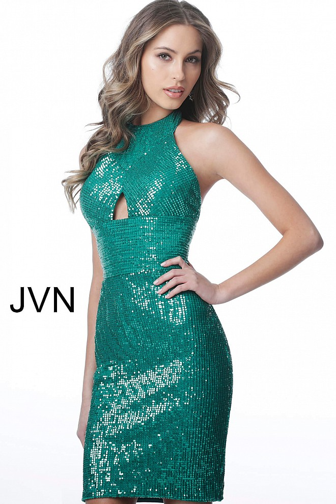 Emerald Sequin Halter Neckline Fitted Short Dress JVN2064