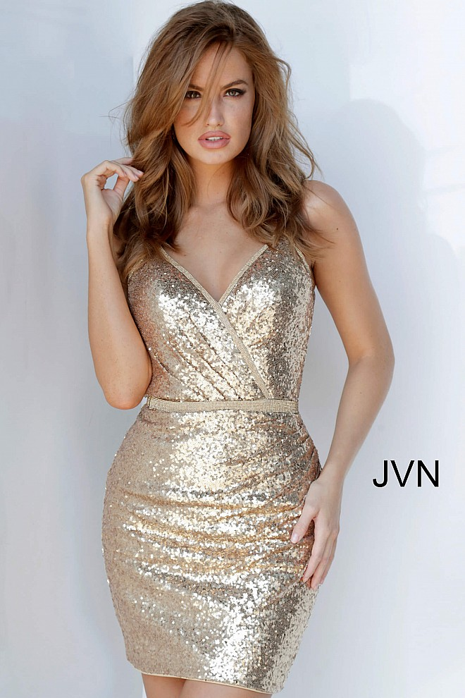 Gold V Neck Spaghetti Straps Sequin Cocktail Dress JVN2091