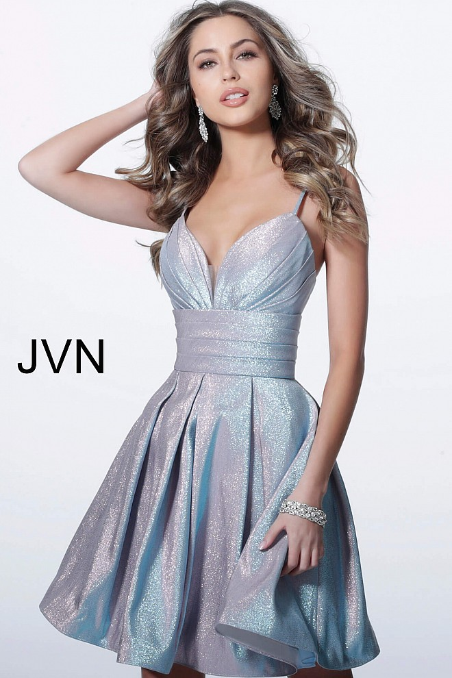 Lilac Fit and Flare Pleated Skirt Homecoming Dress JVN2093