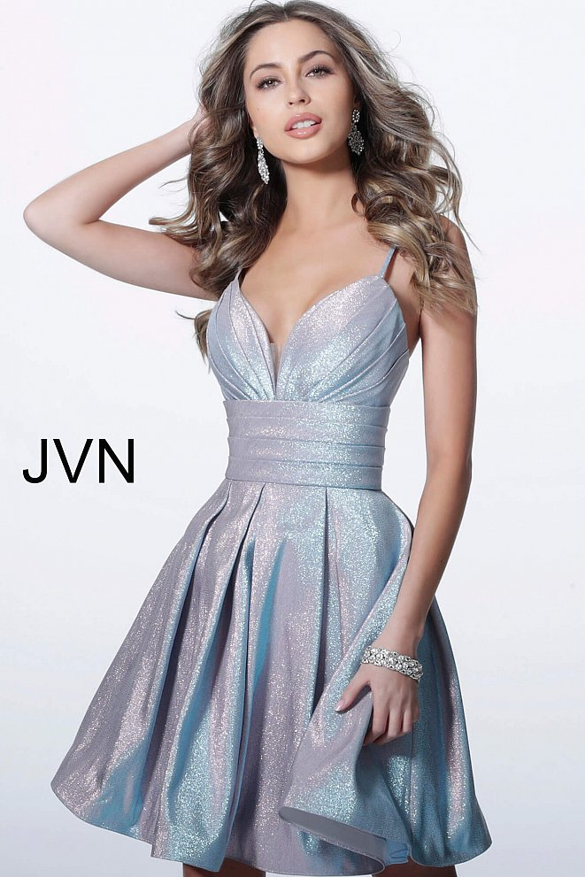JVN2093 Lilac Fit and Flare Pleated Skirt Homecoming Dress