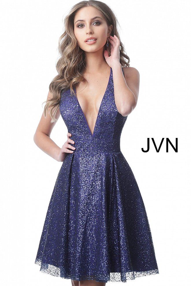 JVN2131 Purple Low V Neck Fit and Flare Homecoming Dress