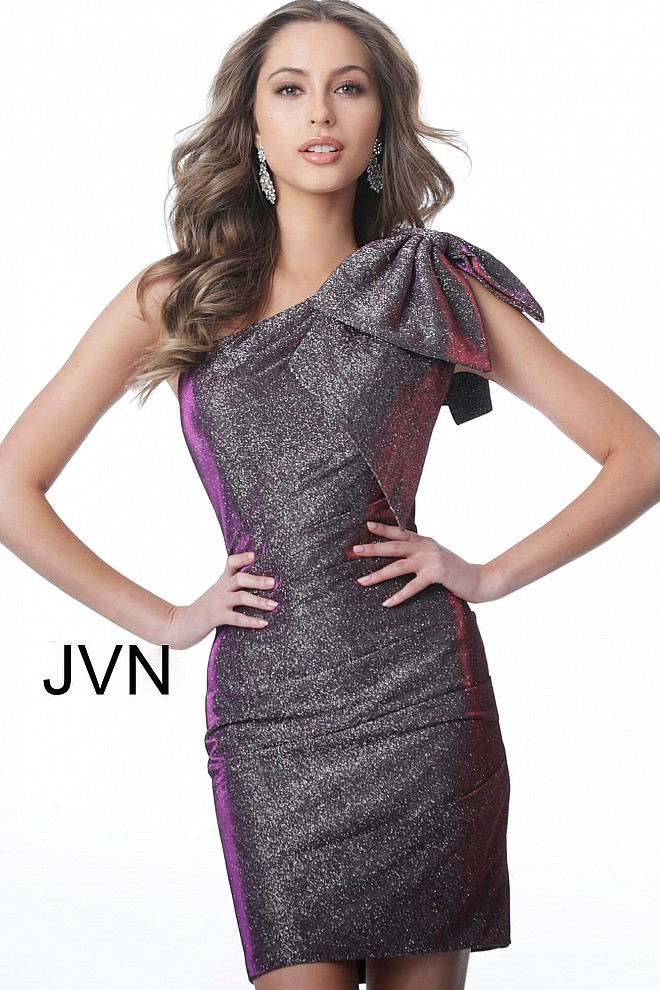 Purple One Shoulder Fitted Sleeveless Short Dress JVN2132
