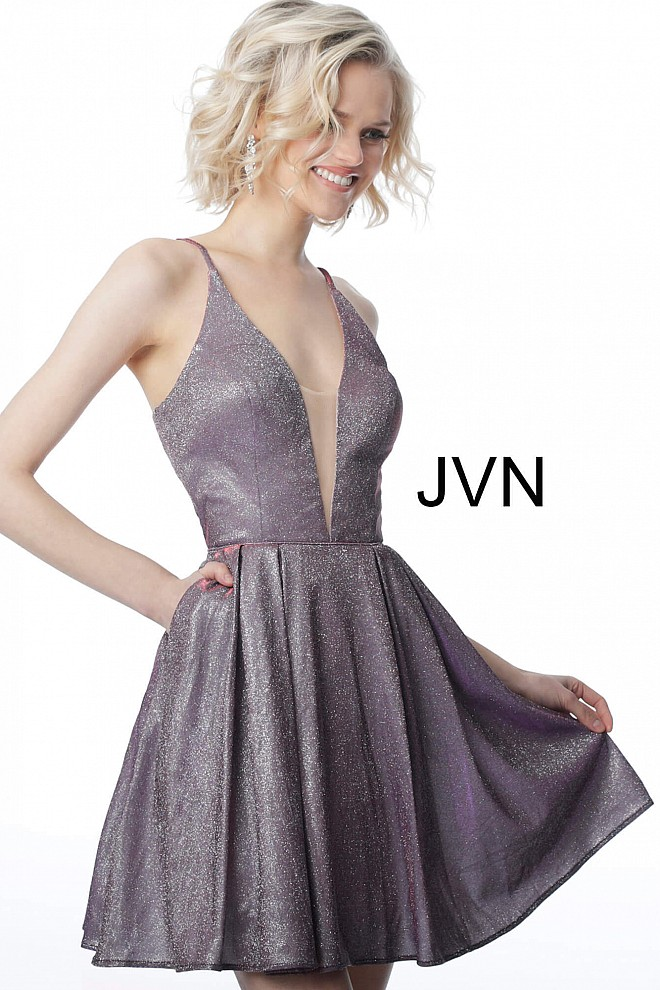 653f7e73671 Purple fit and flare short homecoming dress jvn2173 with pockets.