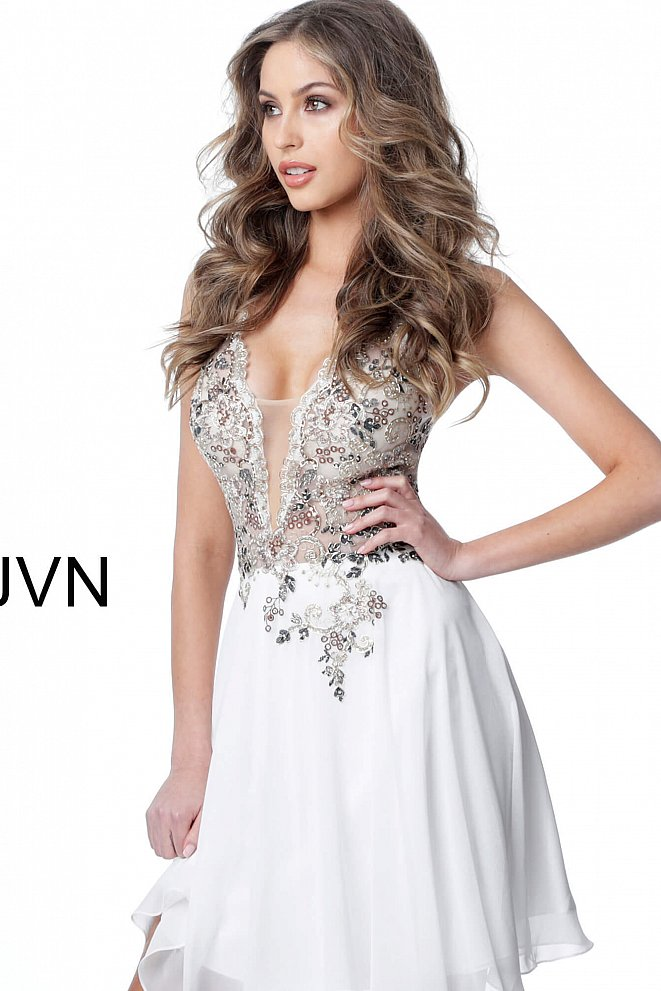 JVN2174 Off White Embellished Bodice Plunging Neck Short Dress