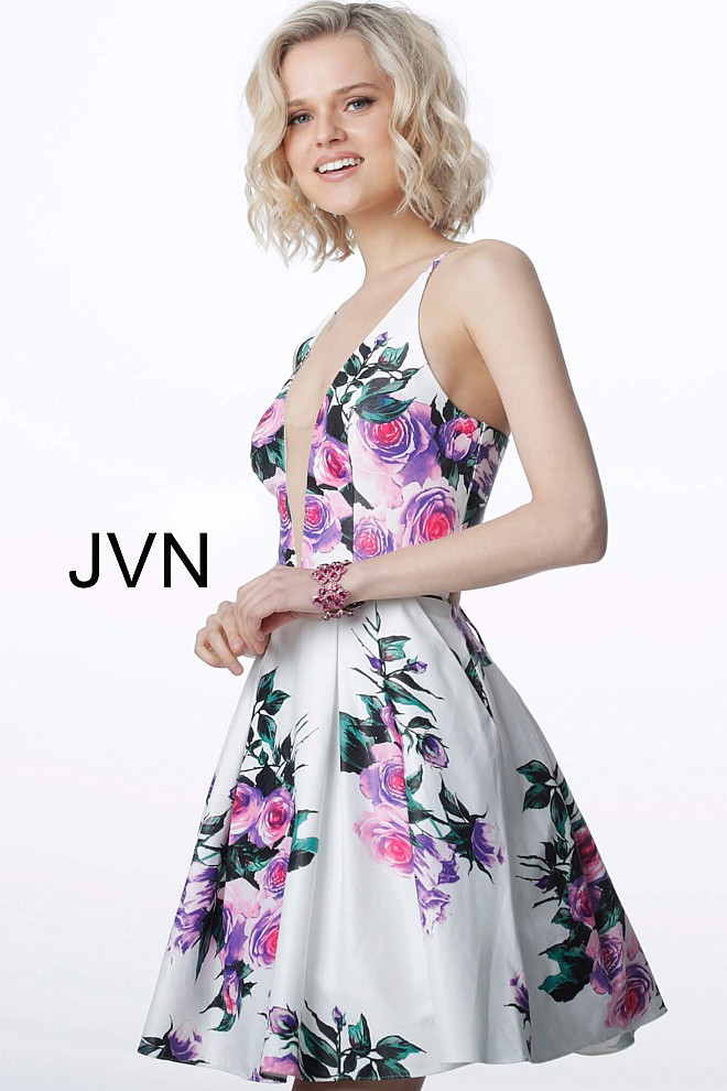 White Floral Print Fit and Flare Homecoming Dress JVN2176