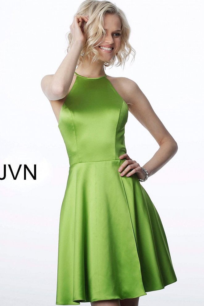 JVN2181 Lime Green Satin Sleeveless Fit and Flare Short Dress