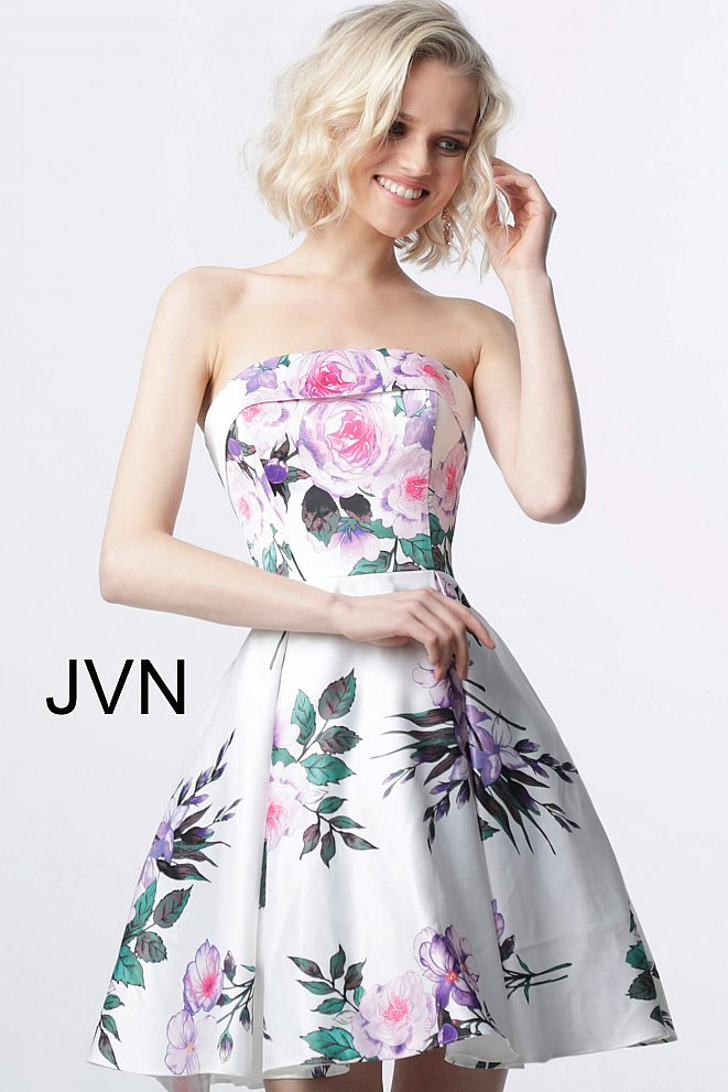 JVN2187 White Print Fit and Flare Strapless Homecoming Dress
