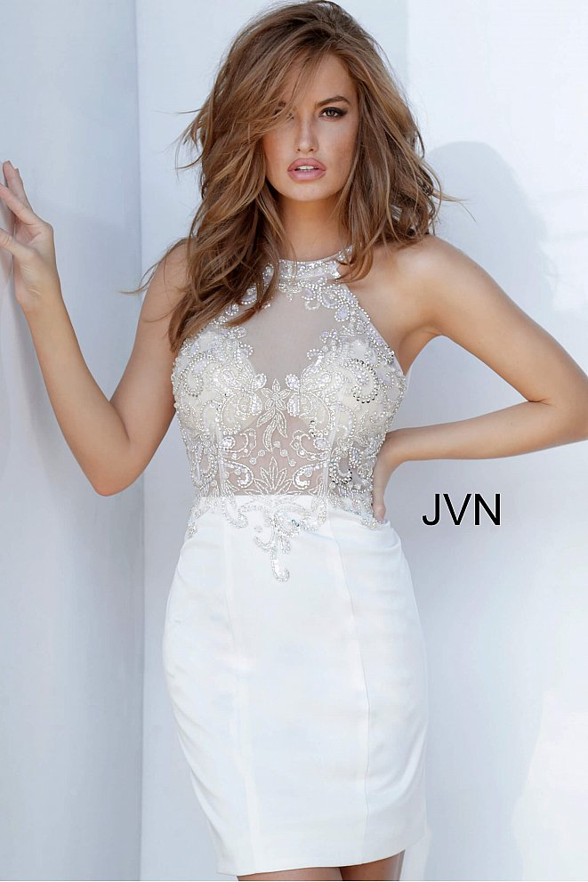 JVN2196 High Neck Illusion Cocktail Dress