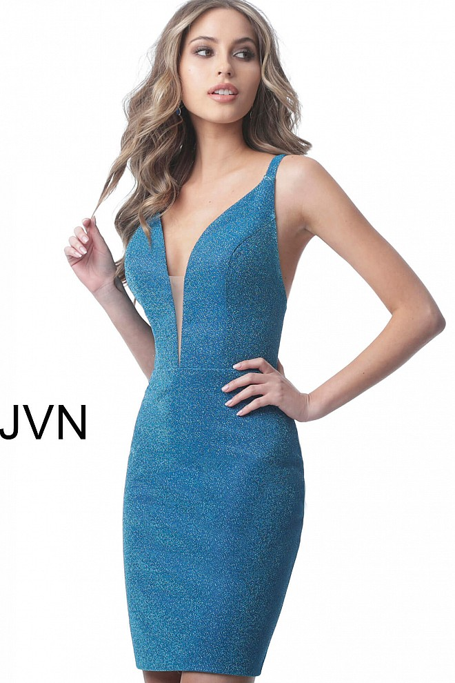 Turquoise Form Fitting Plunging Neckline Short Dress JVN2219