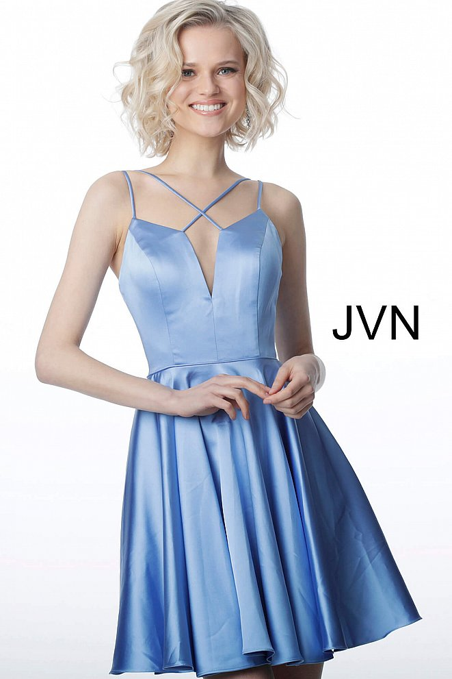 JVN2276 Perriwinkle Fit and Flare Sleeveless Satin Cocktail Dress