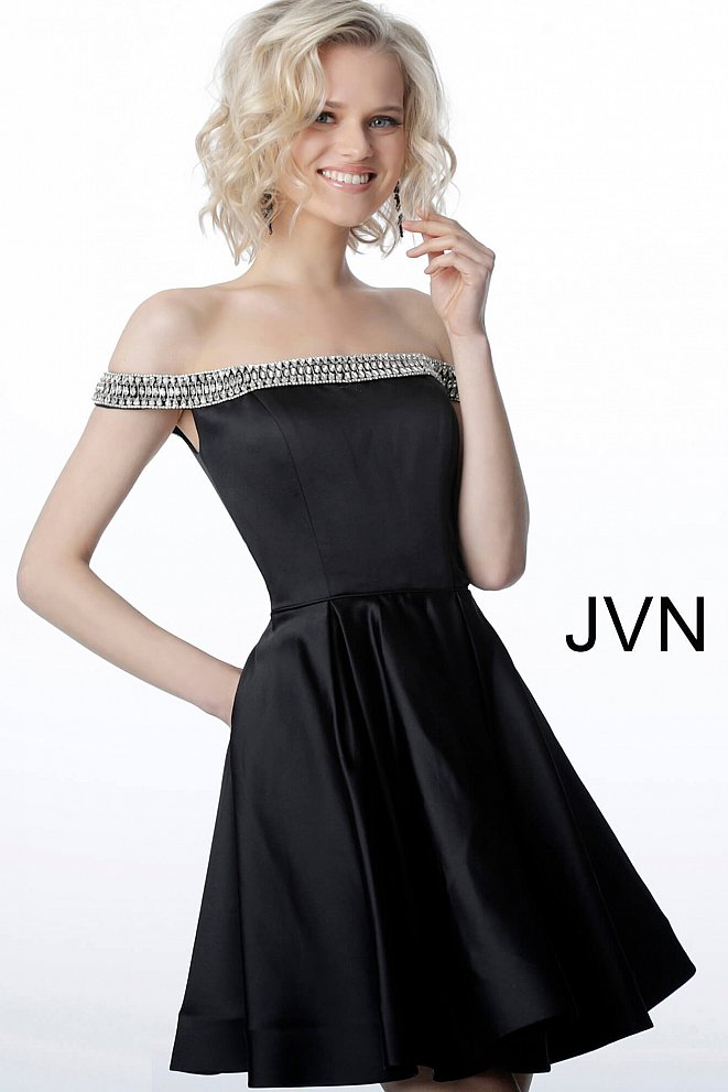 JVN2283 Black Off the Shoulder Embellished Neckline Cocktail Dress